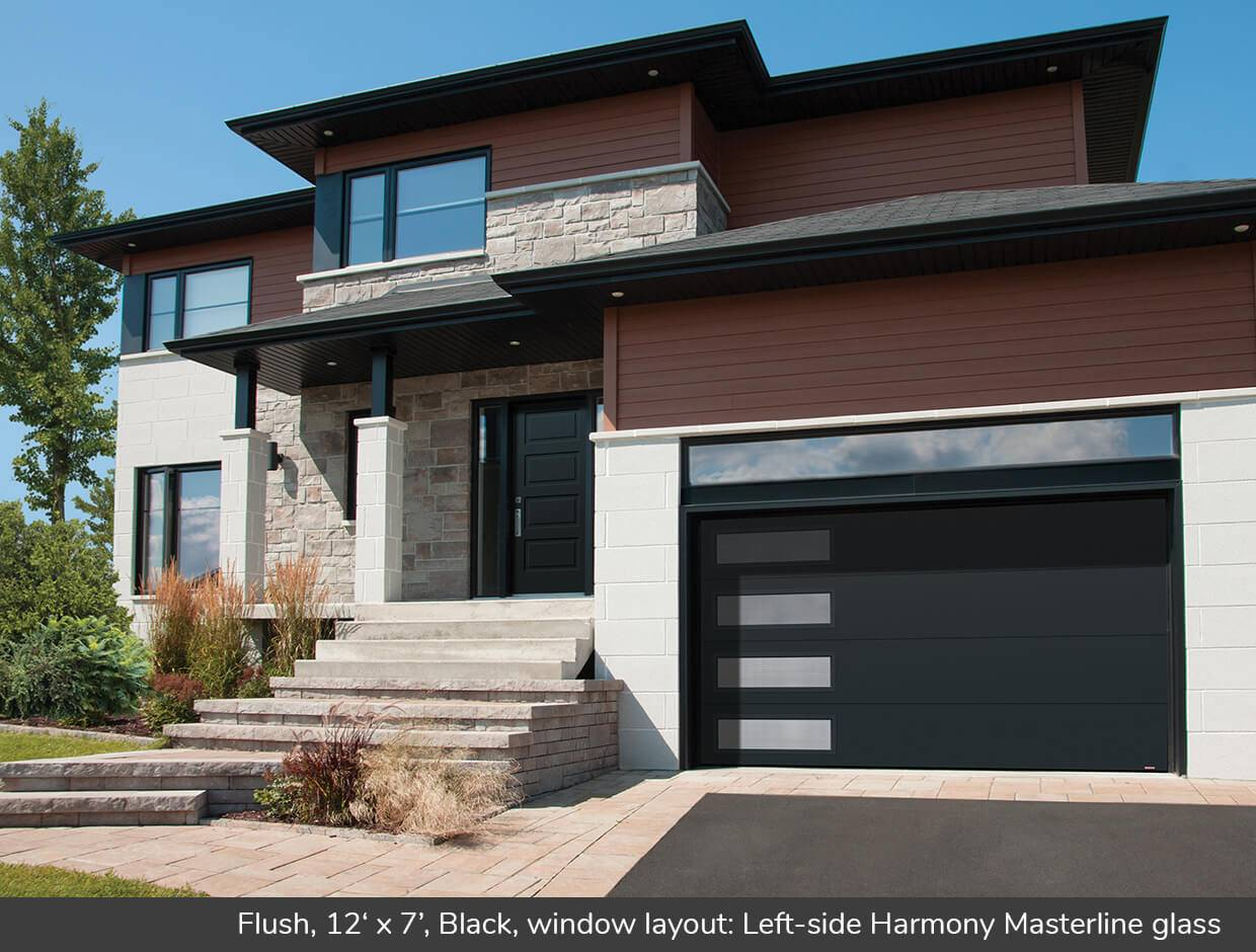 Flush, 12' x 7', Black, window layout: Left-side Harmony, Masterline glass